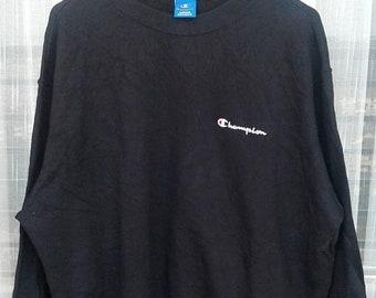 10% OFF Vintage Champion Plain Black Sweatshirt Size XX Large