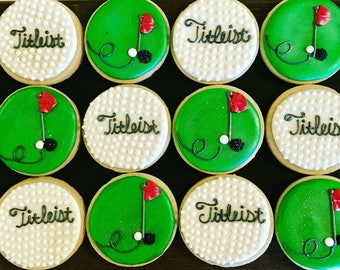 Golf Cookies - Golf Ball Cookies - Fathers Day - Birthday - Sports Cookies - Masters Cookies - Retirement - Golf Digest - PGA Cookies
