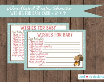 Woodland Animals Baby shower printable Baby Wishes card - Personalized!