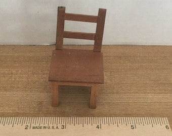 Dollhouse furniture vintage wooden side chair