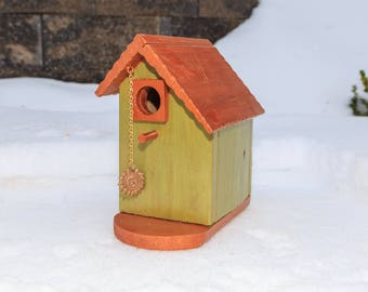Basic Asymmetrical Green/Copper Birdhouse