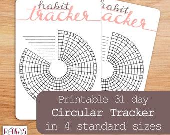 Circular Habit Tracker Printable, 31 Days, A5 Planner Insert, Daily Habit Tracker, Monthly Tracker, Bullet Journal, Goal Tracker, Workout