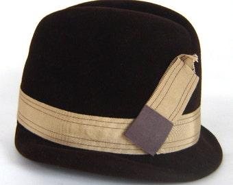 1970s Vintage CHAPEAU PARFAIT Brown Fedora Hat