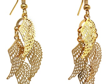 Fashion wings gold earrings