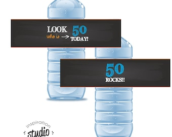 Look Who is 50 Today - 50 Rocks! Printable Water Bottle Wrappers - TWO OPTIONS - Instant Download
