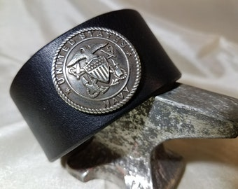 Custom Handmade Thick Leather US Navy Wrist Cuff Made in the USA