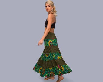 Gypsy Skirt - Bohemian - Boho - Maxi Skirt - Long Skirt - Tribal Skirt