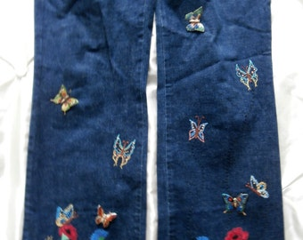 Bespoke Flower & Butterflies Hand Embroidery (jeans not provided, provide your own garment) (butterfly brooches not provided in this sale)