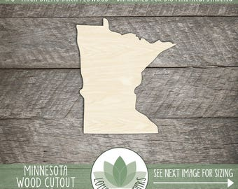 Minnesota Wood Shape, Unfinished Wood Minnesota Laser Cut Shape, DIY Craft Supply, Many Size Options, Blank Wood Shapes