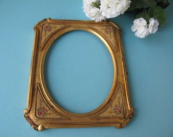 Vintage Picture Frame Shabby Gold Hand Painted Pink Blue Flowers Worn & Weathered 1930s Romantic Parisian Style