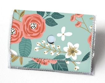 Handmade Vinyl Accordion Wallet - Botanical Blue / small wallet, snap, cute, card case, vinyl wallet, women's wallet, floral, gift
