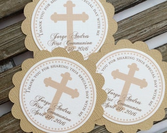 Personalized Beige Tan First COMMUNION CHRISTENING BAPTISM Favor Tags