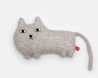Ernest the Cat Knitted Animal Lambswool Soft Toy Plush - Made to order