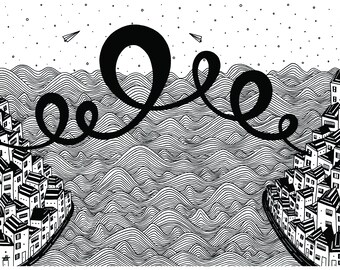Black and white art modern illustration print Love Across The Ocean, lines art graphic print ink drawing long distance relationship gift