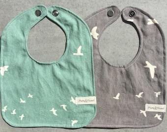 Organic Baby Bib, Birds