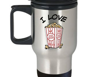I Love Popcorn mug, Travel mug, coffee cup, with popcorn container image, stainless