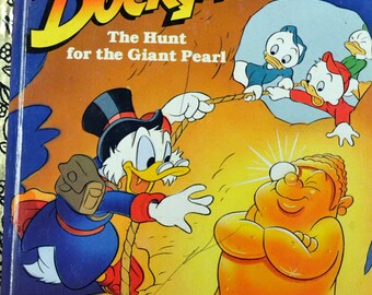 """Vintage Children's Book Duck Tales """"The Hunt for the Giant Pearl"""" Little Golden Book Last Minute Gift"""