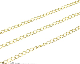 WSALE / 10M / BC-150DB Gold plated, 3mm Curb Chain, 150DB Chain, Necklace Extender chain