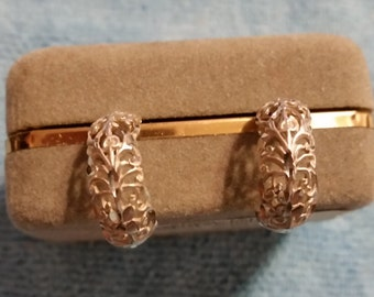 Sterling Silver Half Hoop Scroll Earrings