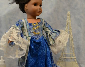 18 in doll clothes Marie Antionette French gown blue floral lace crown shoes