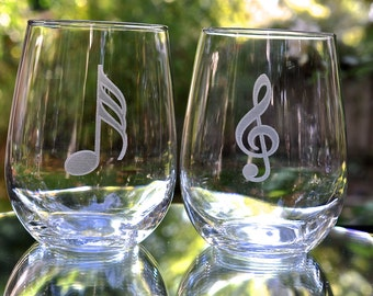 Music Notes Stemless Wine Glass Set of 2 | Choose from 27 Notes