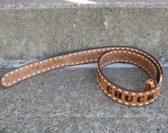 hand tooled mens leather belt personalized for Chuck Motleys size 42