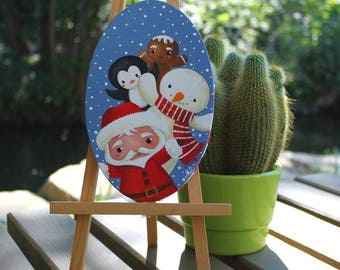 Acrylic painting on oval canvas: friends of Santa Claus