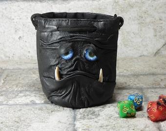 Würfel Tasche Marmor Tasche Fee mit Monster Gesicht ROLLENSPIEL Tasche Rune Beutel Magie der Versammlung Gamer Geschenk schwarz Leder 840
