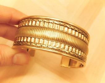 Goddess Golden Wide Brass Cuff Bracelet - Unique Intricate Design - Gift for her
