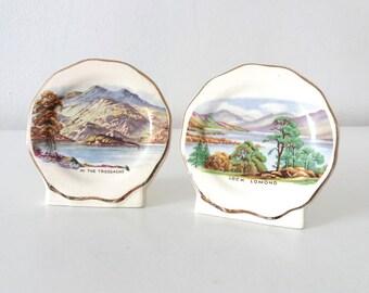 Vintage Scottish porcelain souvenir plaques Loch Lomond, In the Trossachs