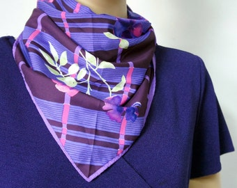 Vera Scarf Vintage 1980's Purple Floral Plaid Square Pink and Purple Kerchief