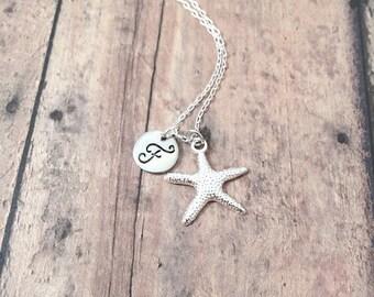 Starfish initial necklace - starfish jewelry, beach necklace, ocean jewelry, seashell necklace, nautical jewelry, silver starfish pendant
