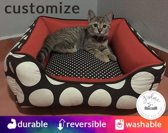 Cat Bed Cute Pet Bed cozy cat lover gift bolster cat beds brown orange polka dots furniture pillow custom made to order