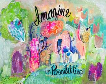 Feminine Wall Art, Abstract Botanical Artwork, Motivational Print, Pink Artwork, Girls Room Decor, Gift For Her, Nursery Art, Giclee