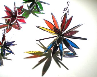 You Pick Any Size - 3D Stained Glass Flower Burst - Colorful Rainbow Gay Pride Home Garden Decoration Hanging Suncatcher (MADE TO ORDER)