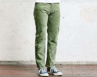 Green Men Leather Trousers . Vintage 90s Mans Suede Leather Pants Ankle Pants Nerd Pants Boyfriend Gift Hipster Pants . size Small S