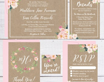 Wedding Invitations Kits Rustic, Rustic Wedding Invitations DIY, Floral Wedding Invitation Template Download, Floral Wedding Invite Instant