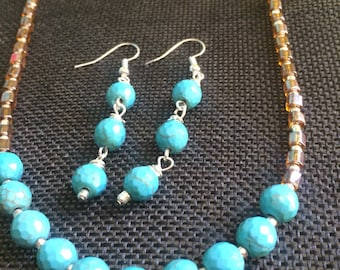 Simple Faceted Turquoise, Silver, and Tan Southwestern Necklace and Earrings Set