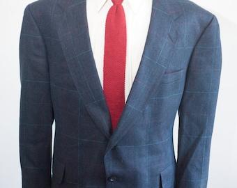 Men's Blazer / Vintage Blue Plaid Jacket by Kuppenheimer / Size 42 Large