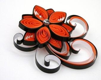 Black and Orange Wedding Hair Accessory, Orange Hair Accessories, Orange Bridal Hair Clip, Halloween Wedding