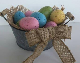 Vintage Easter egg basket tin bucket in basket burlap