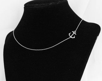 Anchor Necklace,  Sideways Anchor Necklace, Nautical Necklace,  Wedding