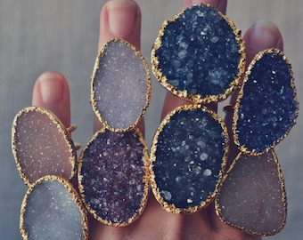 DRUZY RING /// Double Banded Druzy Ring /// Electroformed 24kt Gold