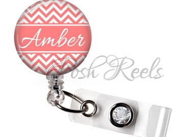 Retractable ID Badge Reel - Personalized Coral Chevron Badge Reel ID, Nurse Badge Reel, Teacher Gift  - 0255