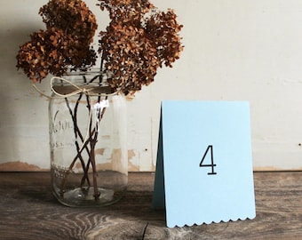 blue tented table number cards for wedding, shower, party set of 10 - delaney