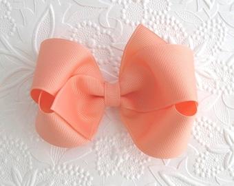 Peach ~ Light Coral Hair Bow, Toddler Girls Boutique Hair Bows