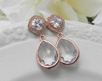 Rose Gold Earrings - Clear Earrings - Rose Gold Bridesmaid Earrings -  Wedding  Earrings - Bridesmaid Gift - Post Earrings - Gift For Her
