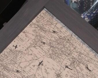 "Framed Magnet Board, Framed Bulletin Board, Magnetic Board, Adventure Wedding Decor, Airplane Nursery Decor, Vintage air traffic map, 41x29"""