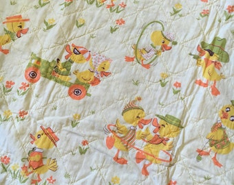 """1940's Vintage Baby Quilt, yellow, hand quilted, prairie point, duckie, 44"""" x 54"""" **free  FRE shipping to us addresses only**"""