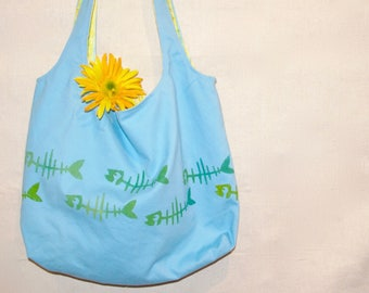 Blue and yellow, Market Bag, Bag, fish bones, Eco-Friendly, Cotton, Up-Cycle, Shopping, Reversible, blue, Shoulder bag, Handbag, stenciled